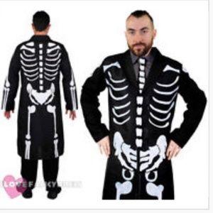 Other - Mens Long Skeleton Coat & Tie Bone Costume